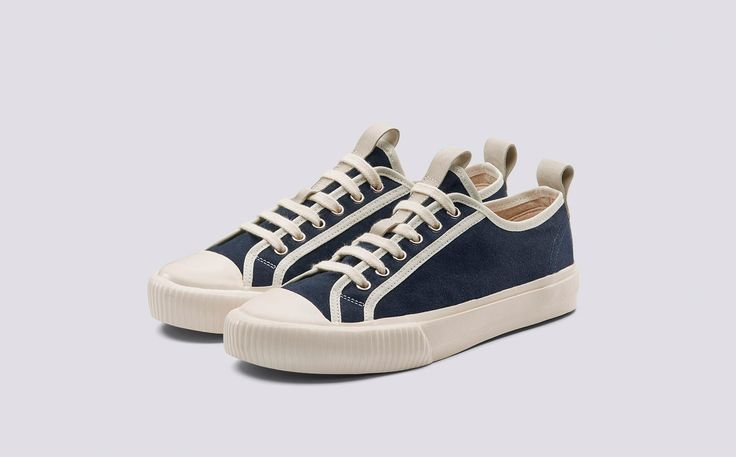 Low Top | Womens Sneaker in Navy an Ecru Canvas with a White Rubber Sole | Grenson Shoes - Three Quarter View