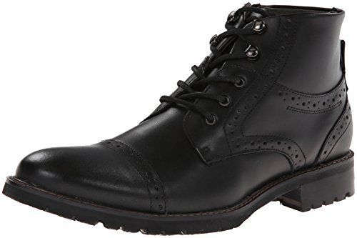 $125, Black Leather Brogue Boots: Steve Madden Rebarr Boot. Sold by Amazon.com. Click for more info: https://lookastic.com/men/shop_items/275788/redirect