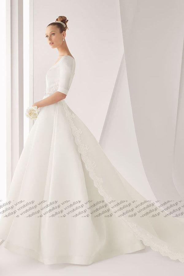 Aライン ウェディングドレス ラウンドネック チャペル オーガンジー ホワイト 選び抜いた素材、全身をバランスよく見せるシルエット、細部にまでこだわりの極みを追求した品格のあるデザインで身にまとうヒロインの魅力を引き出す。美へのこだわりを表現する、アートのようなシルエットが圧倒的な存在感を表現します。