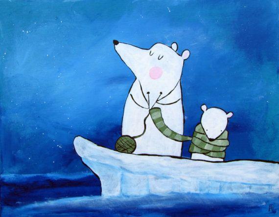 Polar Bear Kids Wall Art Nursery Children's Room by andralynn