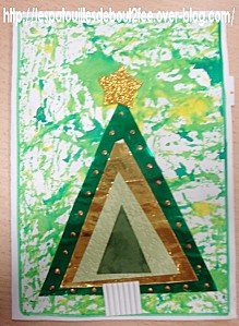 Layered triangles Christmas tree craft kids can make.