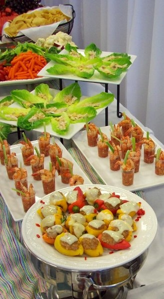 Caesar Salad Wraps, Grilled and Chilled Shrimp with Spicy Gazpacho ...