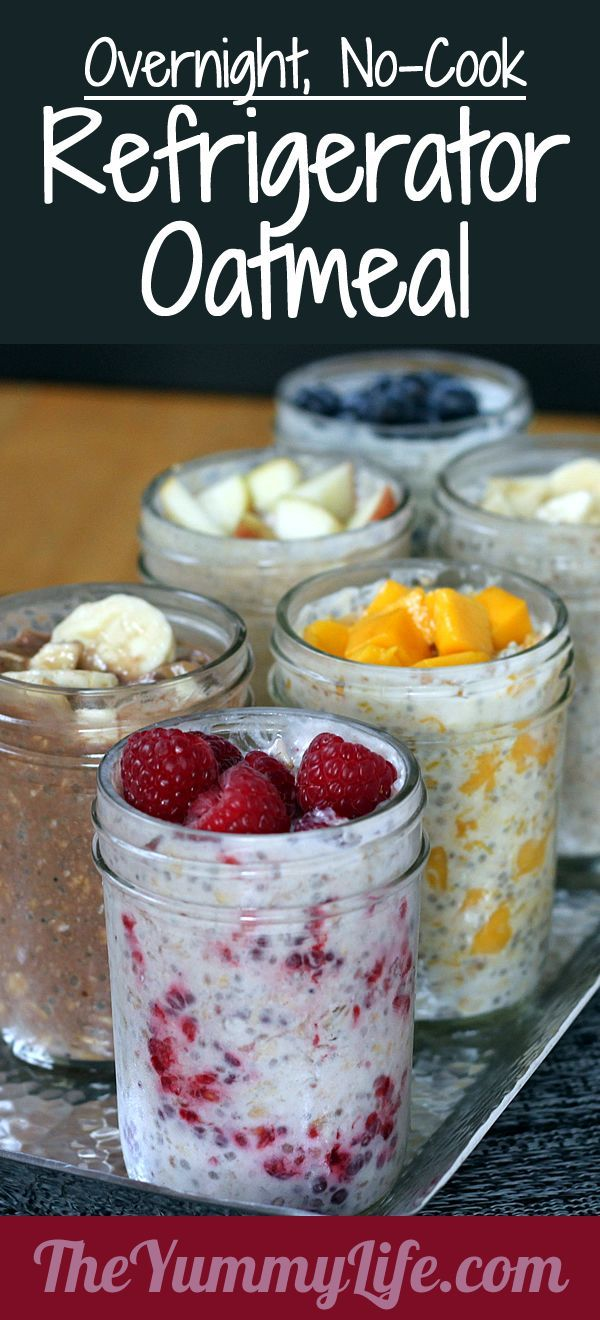 Refrigerator Oatmeal--6 no-cook flavors. Make ahead in individual mason jars for a quick, healthy grab-and-go breakfast.  I made the apple and it is wonderful.