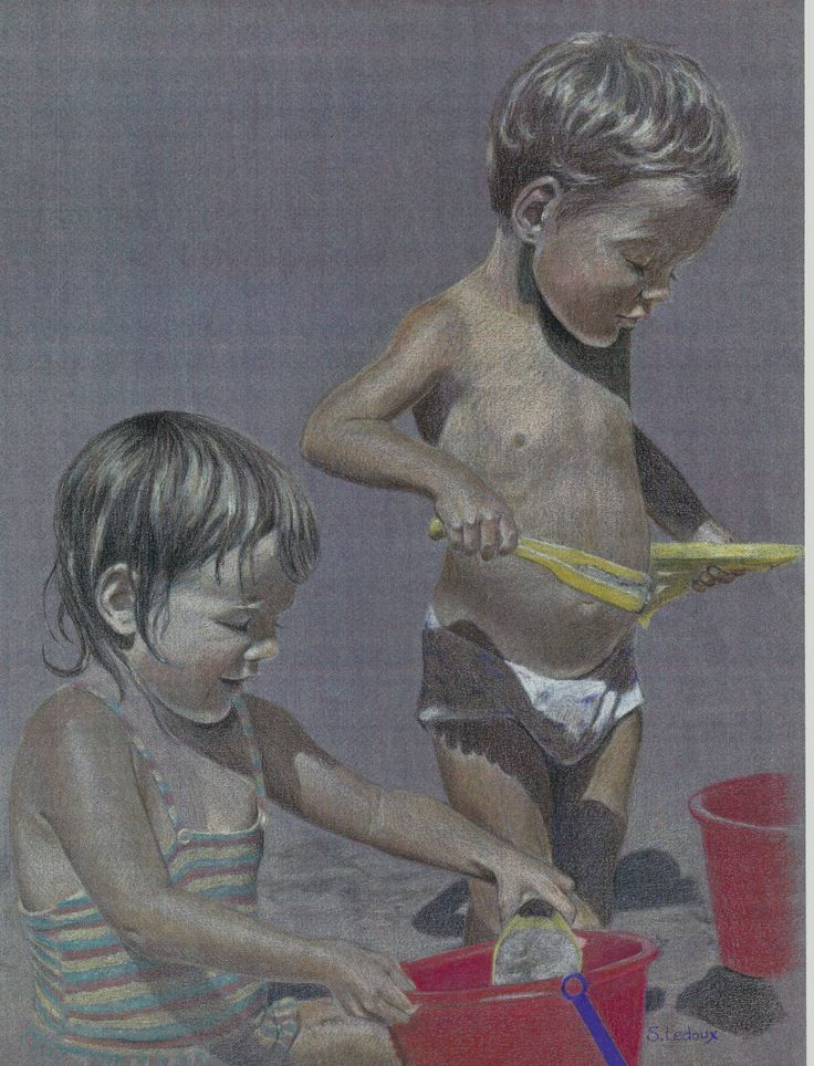 Portrait drawing - My daughter and son playing on the beach, Prismacolor on Canson paper, 1988