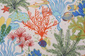 Tropical Drapery Prints :: Mill Creek Island Breeze Printed Cotton Drapery Fabric in Atlantic $9.95 per yard - Fabric Guru.com: Fabric, Disc...