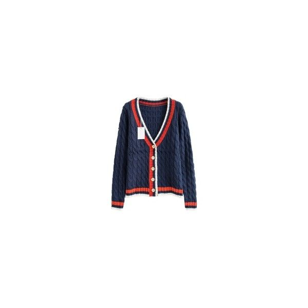 Navy V-neck Cable Cardigans ❤ liked on Polyvore featuring tops, cardigans, cable knit cardigan, v neck cardigan, blue cardigan, v-neck cardigan and navy blue v neck cardigan