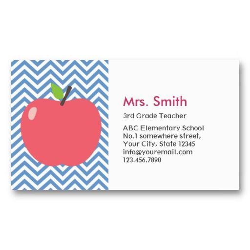 Substitute Teacher Business Card Template | ... /cute-apple-blue-chevron-teacher-business-card_240529124122587535