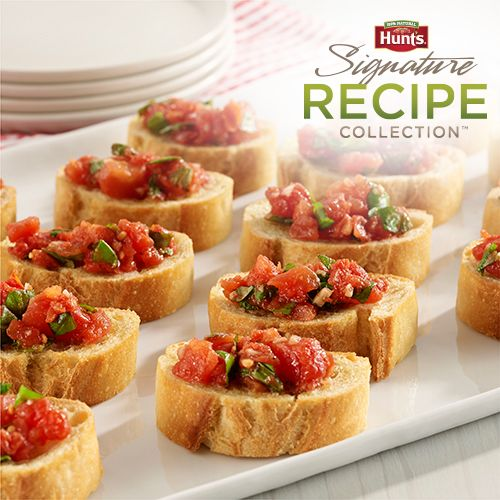 Classic bruschetta made with simple ingredients of petite diced tomatoes, basil and garlic