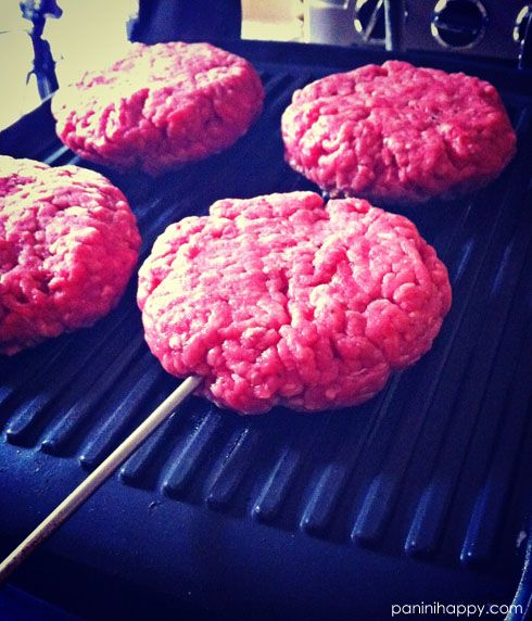 How to grill hamburgers on a panini press.