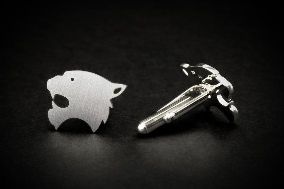Tiger cufflinks wedding grooms gift from bride, handcrafted of sterling silver