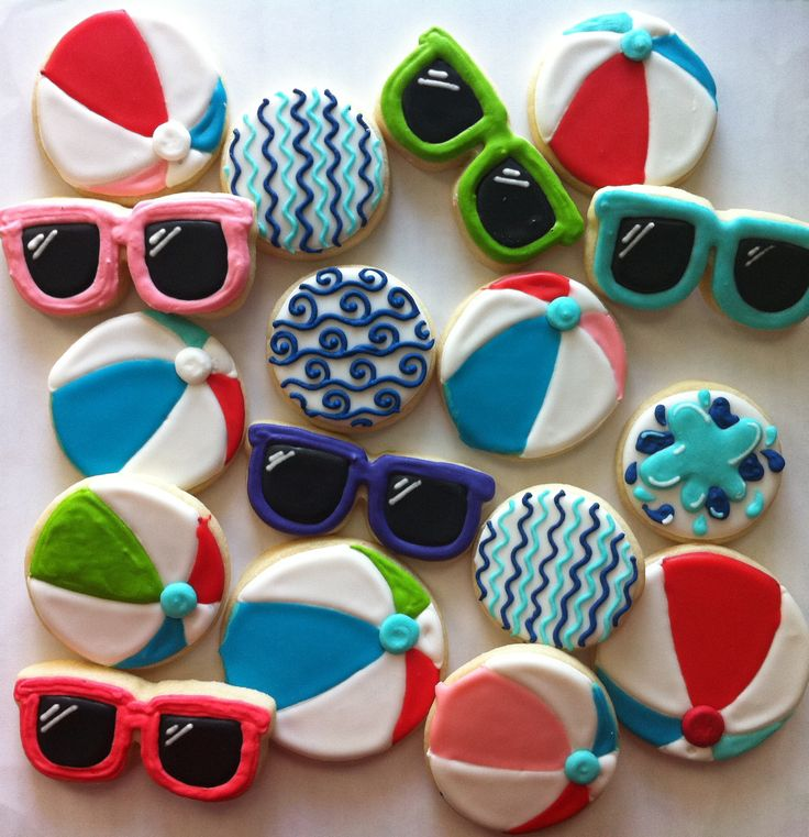 Summer beach ball and sunglasses cookies - HayleyCakes And Cookies