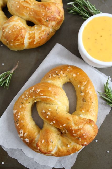 Rosemary Sea Salt Pretzels with Cheddar Cheese Sauce Recipe... The BEST homemade pretzels!