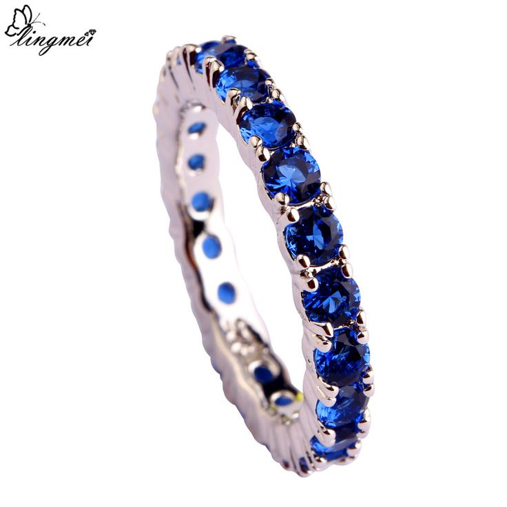 lingmei New Jewelry Round Cut Blue AAA Silver Ring For Women Size 6 7  8 9 10 11 12 13 Romantic Love Style Wholesale