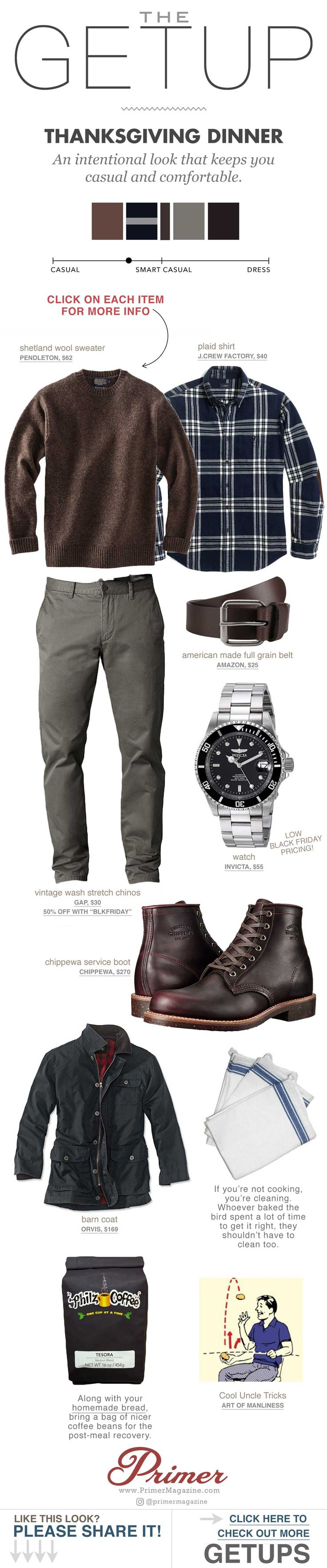 Casual, comfortable style for men. What to wear for Thanksgiving. The Getup.