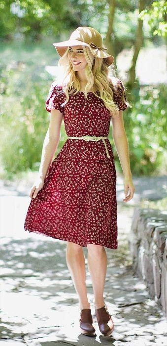 Ella Dress in Red Floral Print/ Modest Dresses/ Modest Spring Dresses/ Lots of modern and modest dresses here! www.sierrabrooke.com