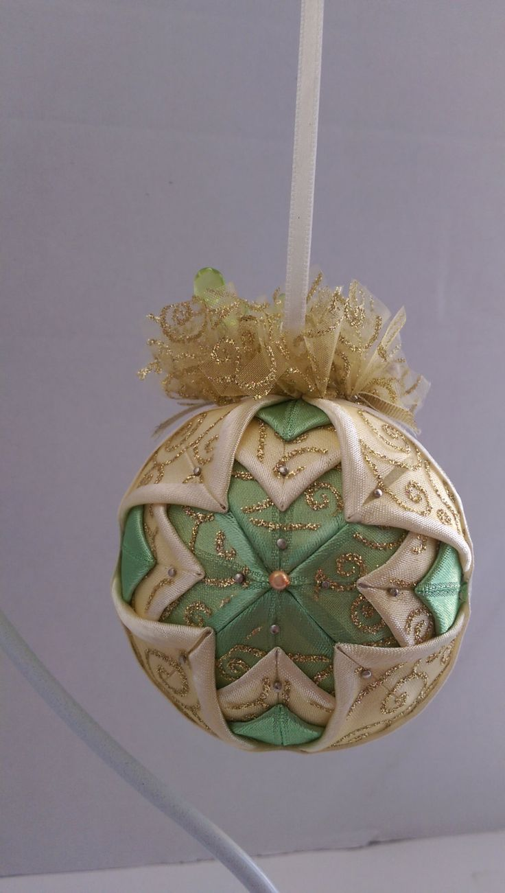 Folded fabric christmas ornaments patterns - Vintage Christmas Quilted Ornament Victorian Folded Fabric Christmas Ornament Quilted No Sew Fabric Christmas Ornament Ball