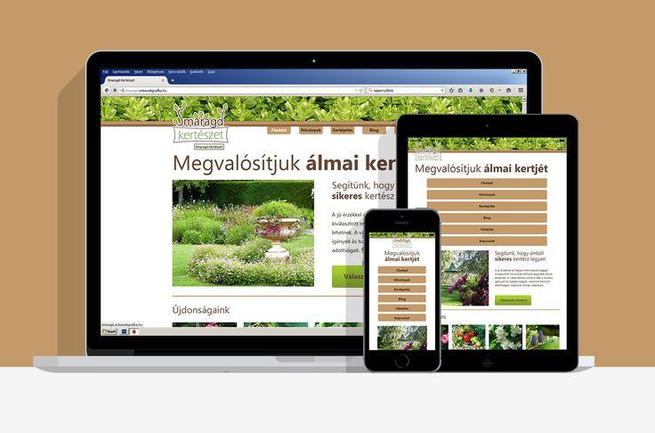 A Smaragd Kertészet számára készített webdesign három méretben.