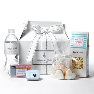 Wedding Thank You Gift Idea - cookies, popcorn, mints, water bottle and advil