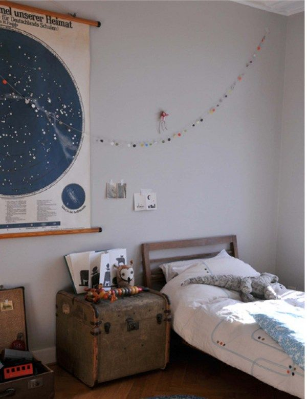 boy room - I love the map of the sky and the old trunk