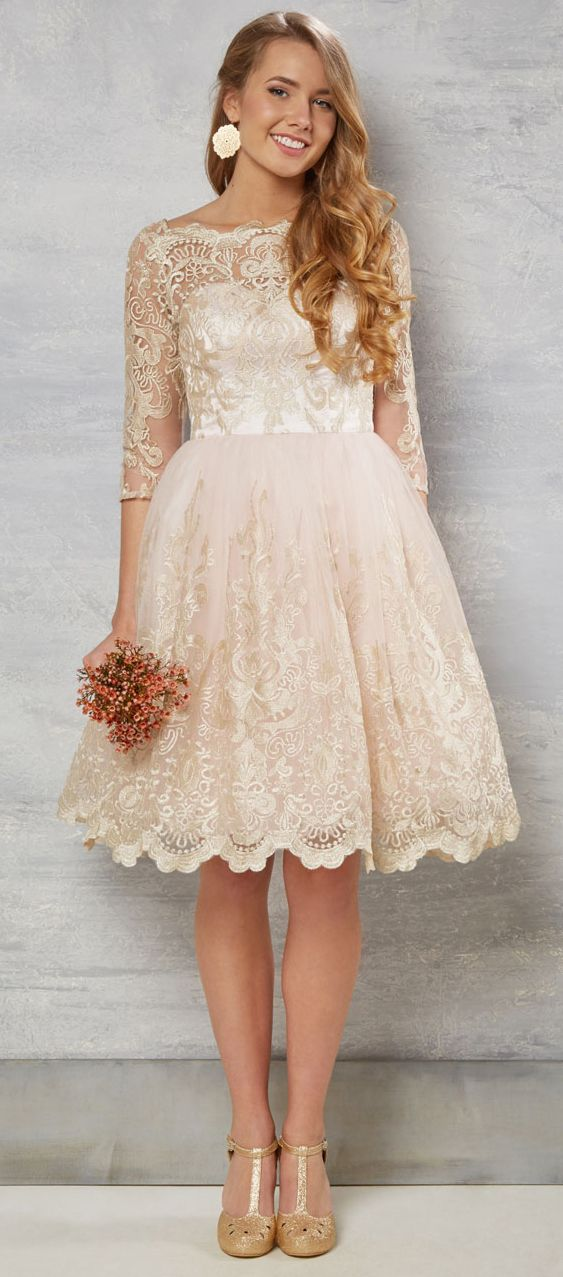 $169.29-Country Style Knee-Length Lace Short Champagne Wedding Dress With Sleeves.  http://www.ucenterdress.com/a-line-bateau-neck-knee-length-3-4-sleeve-lace-wedding-dress-with-illusion-pMK_703800.html.  Free Custom-made & Free Shipping! Shop lace wedding dress, strapless wedding dress, backless wedding dress, with sleeves, mermaid wedding dress, plus size wedding dress, We have great 2016 best Wedding Dresses on sale at #UcenterDress.com today!