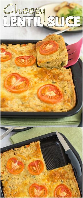 Cheesy lentil slice - an easy vegetarian dinner that doubles as a lunchbox filler for the next day! Full of protein and fibre, and still completely delicious.