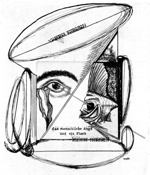 "Johannes Baargled, The Human Eye and a Fish, THe Latter Petrified, 1920, Cut-and-pasted paper, ink, and pencil on paper, 12 1/4 x 9 3/8"" (31.1 x 23.8 cm), New York, MOMA."