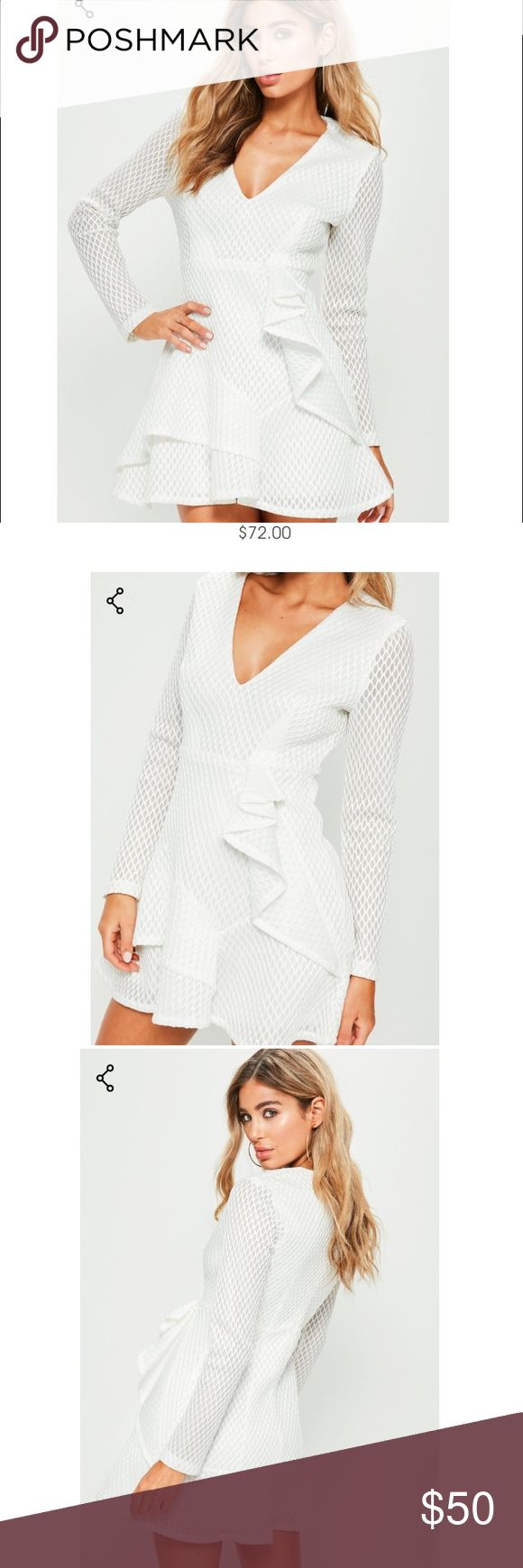 White skater dress : missguided Adorable white skater dress. New with tags. I bought the wrong size. This is a UK size10, US size 6. Missguided Dresses Mini