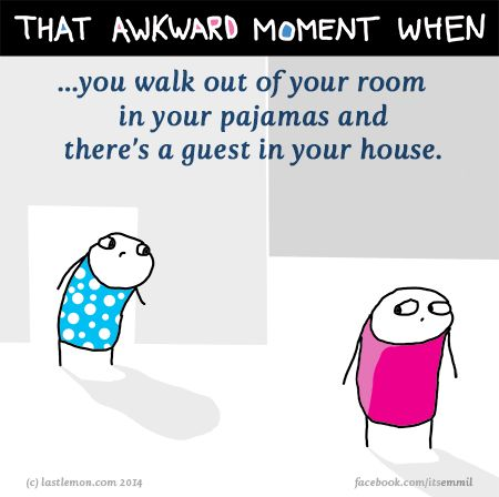 http://lastlemon.com/emmil/em047/ That awkward moment when you walk out of your room in your pajamas and there's a guest in your house.