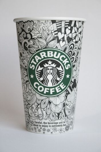 This is insane! I love it...zentangles on a starbuck cup! Just how long did they spend there?:)