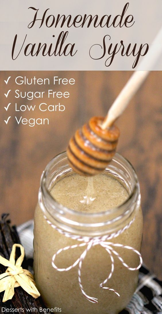 Healthy Homemade Sugar-Free Vanilla Bean Syrup! All the flavor of vanilla beans but in liquid form... without the added sugar and high-fructose corn syrup! [sugar free low carb gluten free vegan] -- Only 5 calories per two tablespoons (versus 90 calories in storebought syrups)