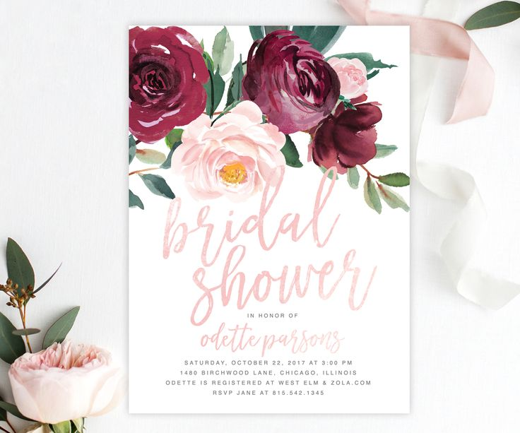 The Odette Bridal Shower invitation featuring gorgeous fall florals with a burgundy and blush pink rose and greenery arrangement and blush pink brush calligraphy lettering.