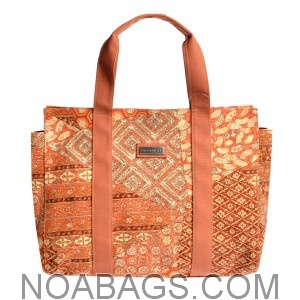 Jim Thompson – Luxury Canvas Tote Bag Rust, Coral & Salmon