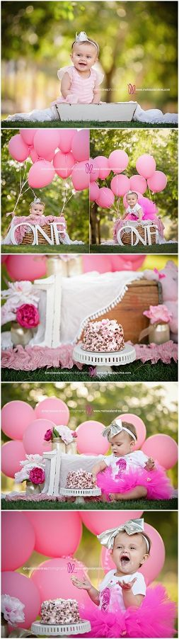 Adorable cake smash photo ideas! All pink... pink balloons & tutus for baby's first birthday, love it! Melissa Landres photography, La Quinta CA