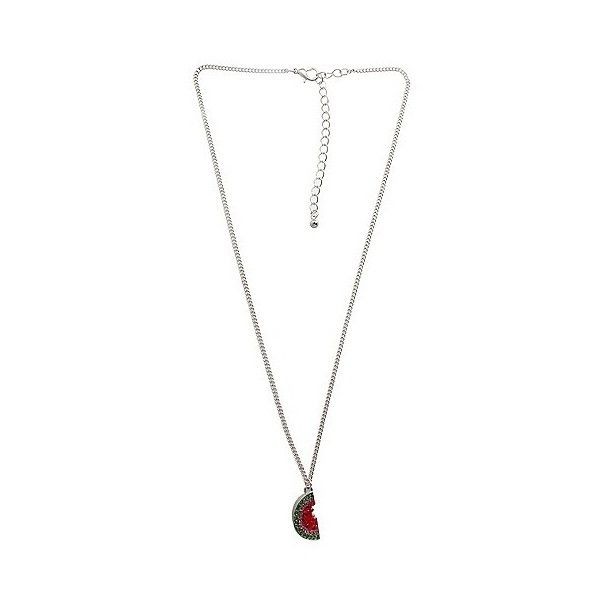 Women's Fashion Necklace With Watermelon Pendant And Stones-... ($7.99) ❤ liked on Polyvore featuring jewelry, necklaces, silver, multicolor necklace, tri color necklace, pendant necklace, polished stone pendants and stone jewelry