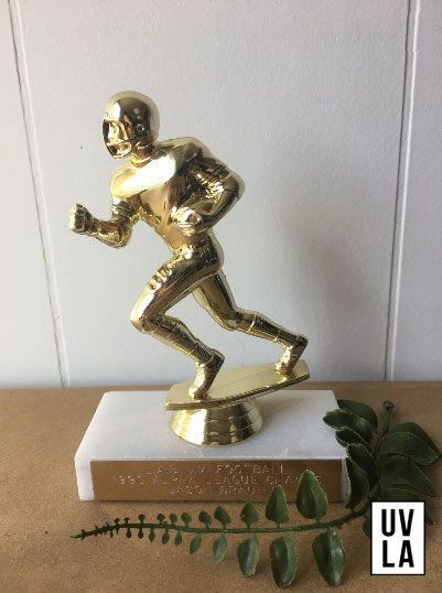 1990 Football Trophy on Marble Block with Gold Plaque - Office Decor - Sports Memorabilia - Team Game