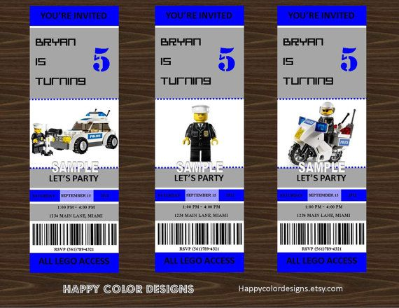 Lego Police Invitation Printable Lego Police by ...
