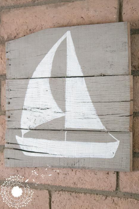Distressed Wooden Sailboat Sign #DIY #vintage #coastal #sailboat #sign #homedecor #furniturepaint #stencil #stenciling #cottage #rustic #barnwood #howto #craft #crafting - blog.countrychicpaint.com