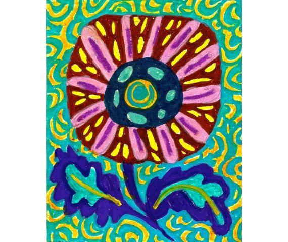 Whimsical Art Flower Flower Art Print Wall by AGirlAnOwlAndACat, $10.00
