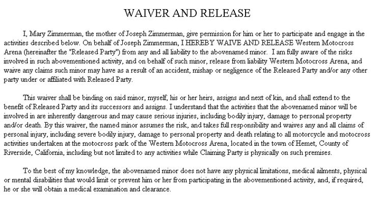 Example Document for Waiver and Release - waiver example
