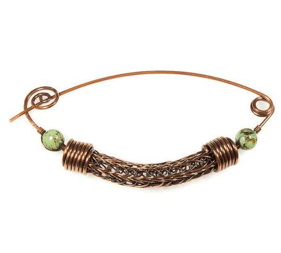 Filo di rame spilla, Viking maglia gioielli, gioielli di pietra turchese africano, rame sciarpa Pin, spille di sicurezza Pin blu