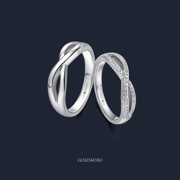 Мотив бесконечности, переплетение двух линий судьбы и вечную любовь - символизируют эти великолепные обручальные кольца из белого золота.  Комплект обручальных колец 'Forever in Love', женское кольцо с 43 бриллиантами, весом 0.23 карата. Цена за пару 60 200 руб.    #GOLD4U #Кольцо #ОбручальныеКольца  #GOLD4U  #Ring #Wedding #Diamond #Love #lavivion