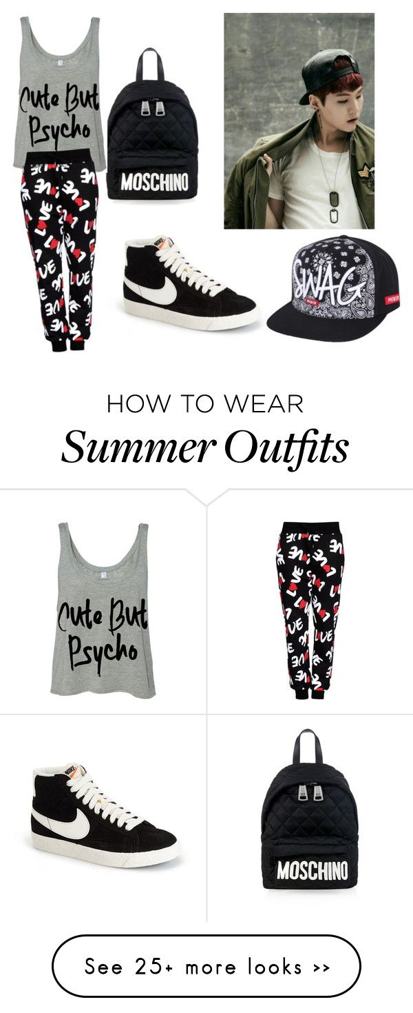 U0026quot;BTS Suga outfitu0026quot; by ryeseong on Polyvore featuring Moschino Love Moschino and NIKE | Summer ...