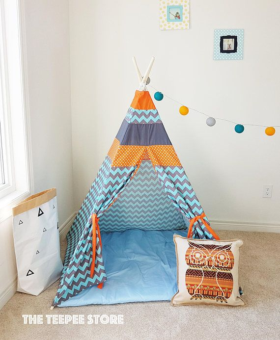 NEW Orange Mood Teal Chevron Polka Dot Gray Teepee Tent