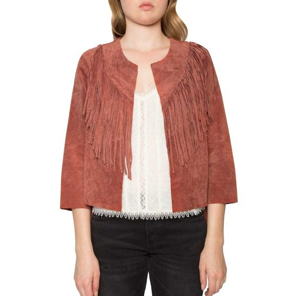 Women's Willow & Clay Crop Fringe Suede Jacket ($159) ❤ liked on Polyvore featuring outerwear, jackets, sienna, fringe jacket, red cropped jacket, red suede jacket, suede leather jacket and suede fringe jackets