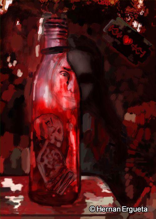 """Ilustración del cuento titulado """"Eyna dentro de una botella"""" (Eyna in a Bottle) del libro: El Santuario que Arde"""" de Hernán Ergueta #hernanergueta #ilustracion #cuentos"""