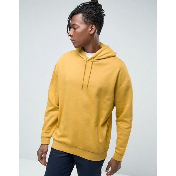 ASOS Oversized Brushed Back Hoodie In Yellow ($32) ❤ liked on Polyvore featuring men's fashion, men's clothing, men's hoodies, yellow, mens cotton hoodies, mens hoodies, mens tall hoodies and mens sweatshirts and hoodies