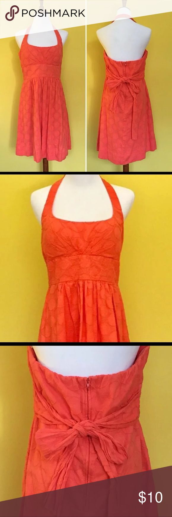 Orange Halter Dress Size 16 With Circle Pattern B. Smart brand dress features a circle pattern with high waistband, back zipper and tie back. This is a size 16 halter top lined dress.  Offers welcome and bundles receive a discount. Smoke and pet free. Gently used clothing is like new in excellent used condition with no flaws or damage. All items shipped within 24 hours of purchase. B. Smart Dresses Midi