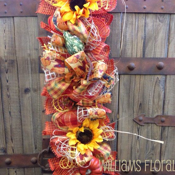 Fall Mesh Garland g2 by WilliamsFloral on Etsy, $140.00