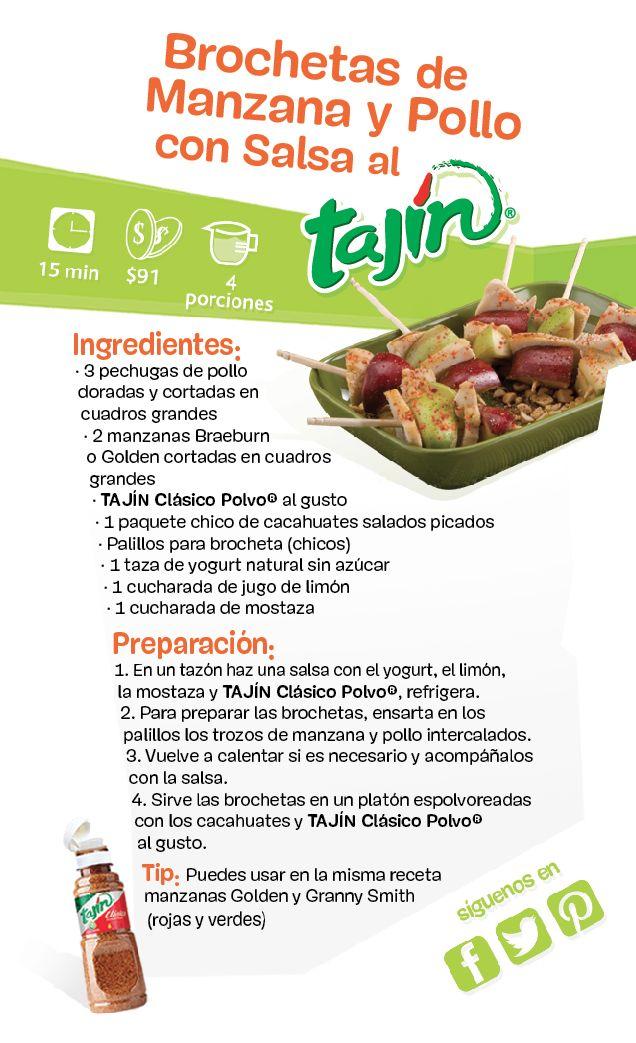 Vamos a aprender a preparar brochetas de Manzana y Pollo con Salsa de Tajín / Let's learn how to prepare apple and chicken brochettes with #tajin sauce