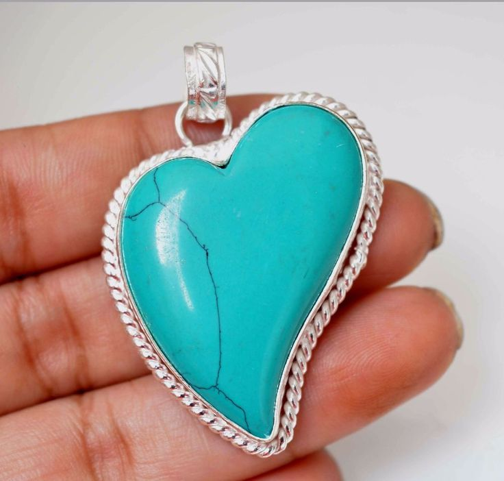 Heart Shape Simulated Turquoise 925 Silver Plated Pendant Xmas Gift For Her A159 #valueforbucks #Pendant